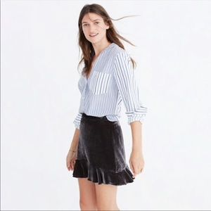 Madewell Velvet Ruffle Edge Skirt Dark Metal L